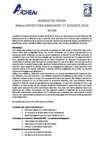 BILAN_XIe_ENTRETIENS_ARMEMENT_ET_SECURITE